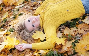 leaves, girl, blonde, autumn, blue eyes, sweater