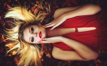 листья, девушка, платье, блондинка, осень, макияж, маникюр