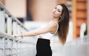 лето, взгляд, юбка, модель, браслеты, длинные волосы, carlotta