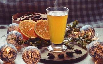 свет, ветка, украшения, напиток, шарики, бокал, апельсин, стакан, шоколад, горячий