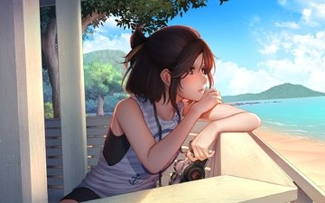the sky, girl, beach, summer, look, anime, profile