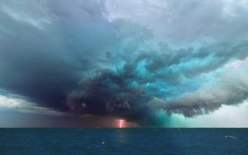 the sky, sea, lightning, element