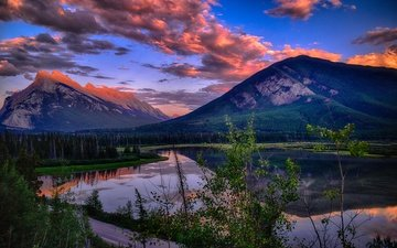 the sky, clouds, lake, mountains, sunset, canada