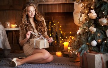 new year, tree, girl, room, fireplace, gift, holiday, christmas, curls, box, brown hair