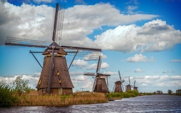 the sky, clouds, water, river, nature, mill, netherlands, windmill