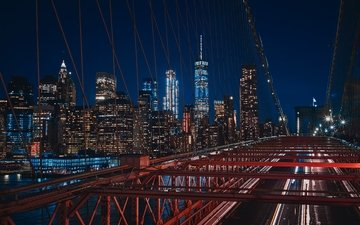 night, lights, skyscrapers, new york, building, brooklyn bridge