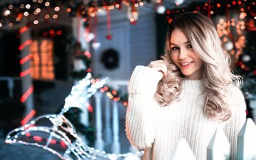 lights, winter, girl, blonde, smile, garland, curls, sweater