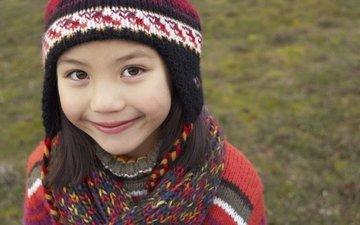 smile, autumn, children, girl, hat