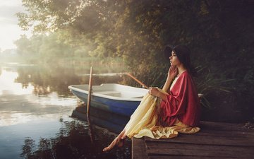 lake, river, girl, dress, pose, fog, pierce, boat, hat, barefoot, max kuzin