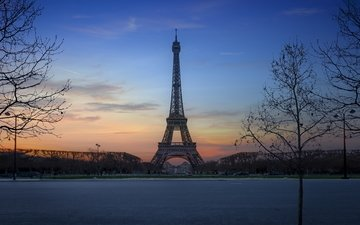 trees, sunset, paris, france, eiffel tower