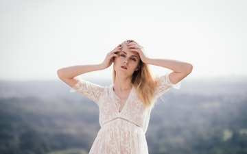 платье, взгляд, модель, волосы, лицо, валерия