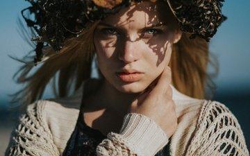 girl, portrait, look, hair, face, wreath, alina stolzenburg