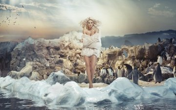 girl, blonde, model, birds, hair, makeup, hairstyle, fur, penguins, photoshoot, monika synytycz
