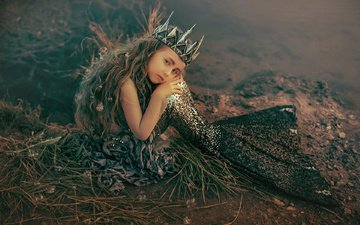 nature, shore, look, bubbles, girl, hair, face, mermaid, the little mermaid, rus