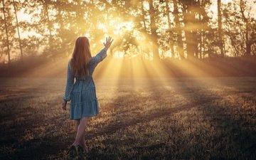 природа, девушка, лучи, утро, поза, солнечный свет