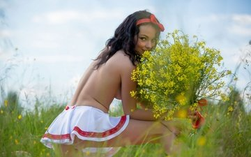 flowers, grass, nature, greens, girl, pose, brunette, summer, skirt, model, bouquet, katie
