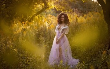 grass, trees, nature, girl, dress, pose, summer, model, anton komar, diana