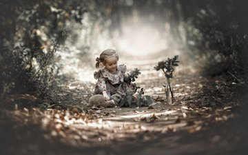 nature, leaves, dress, flower, branches, girl, child, rabbit, animal, bottle, baby