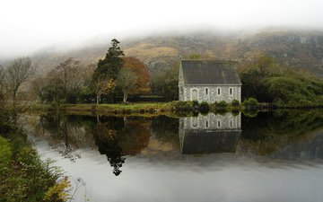 river, calm, house, ireland