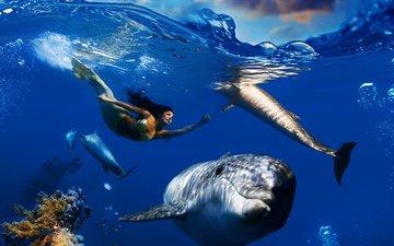 небо, облака, волны, море, рыбы, под водой, кораллы, пузырьки, дельфины, подводный мир, русалка, плавает