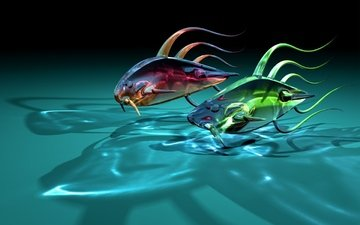 reflection, fish, graphics, glass, two, 3d, transparent