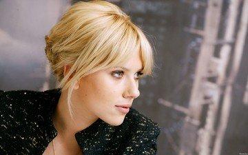 девушка, блондинка, портрет, взгляд, профиль, губы, актриса, скарлетт йоханссон, scarlett johanson