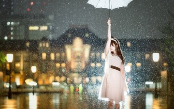 snow, girl, mood, dress, the city, the situation, umbrella, asian