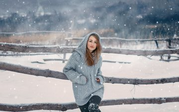snow, nature, winter, girl, the fence, hood, sweater, rus