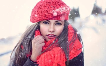 snow, winter, girl, brunette, look, hair, face, takes, scarf