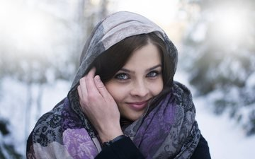 snow, winter, girl, smile, brunette, shawl