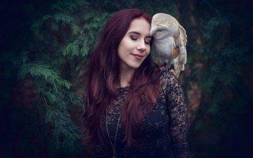 сова, девушка, настроение, поза, птица, волосы, лицо, закрытые глаза, сипуха