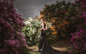 цветы, стиль, девушка, платье, кусты, взгляд, волосы, гуляет