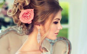 стиль, девушка, роза, профиль, макияж, прическа, сёрьги