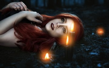 candles, girl, mood, hair, makeup, piercing, redhead, mina miraculous