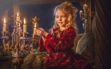 candles, dress, look, girl, room, curls, hair, face, outfit
