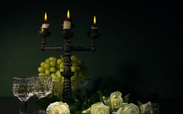 flowers, candles, grapes, roses, black background, still life, nat