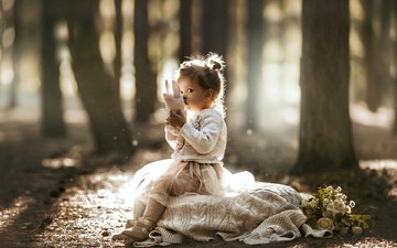 light, flowers, trees, nature, girl, toy, bouquet, jacket, child, baby