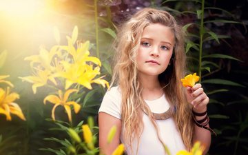 light, flowers, the sun, nature, girl, bracelet, lily, curls, rus