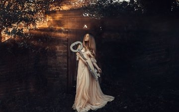 light, girl, dress, pose, key, hair