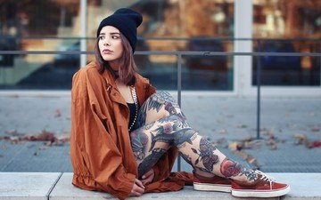 girl, brunette, street, model, tattoo, feet, hat, shoes, jacket, photoshoot