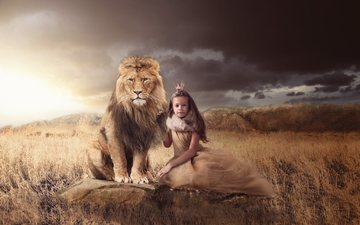 grass, nature, stones, clouds, girl, predator, animal, leo, crown, queen, princess