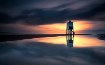 the sky, clouds, reflection, sea, lighthouse, england, paul, burnham-on-sea
