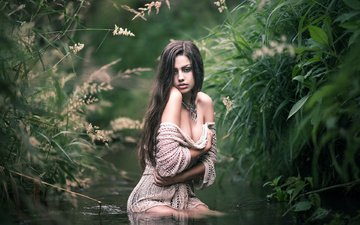water, girl, pose, look, hair, face, grass