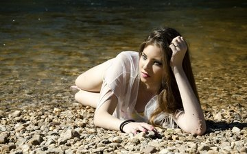 water, pebbles, girl, sea, pose, beach, look, hair
