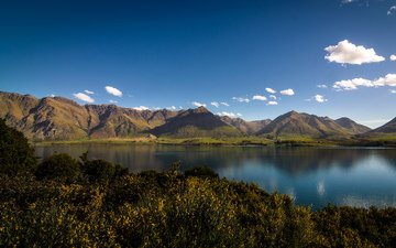 water, lake, mountains, nature, new zealand