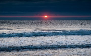 sunrise, wave, sea, horizon, dawn, england, north sea