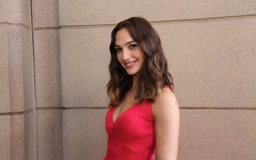 smile, hair, actress, red dress, photoshoot, gal gadot