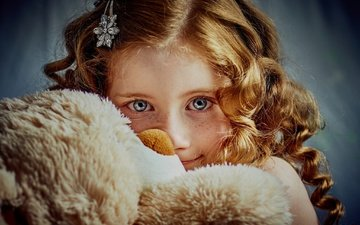 look, bear, girl, toy, curls, hair, face, freckles