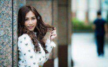 девушка, улыбка, взгляд, волосы, азиатка, дувушка, боке, rafa sanchez