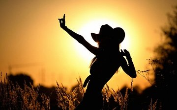 grass, the sun, sunset, girl, spikelets, silhouette, hat